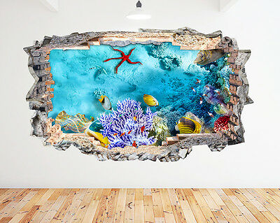 K202 Aquarium Fish Tank Coral Wall Decal Poster 3D Art Stickers Vinyl Room