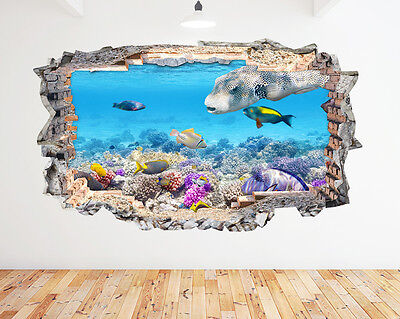 K193 Aquarium Fish Tank Water Living Room Wall Decal Poster 3D Art Stickers Viny