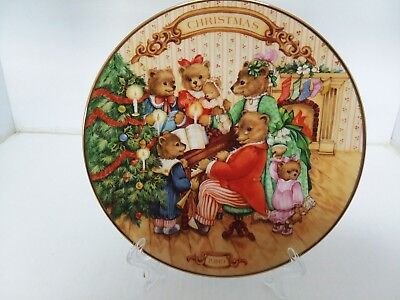 """Avon 1989 """"together For Christmas"""" Porcelain Trim In 22K Gold Collec. Plate Nnb"""