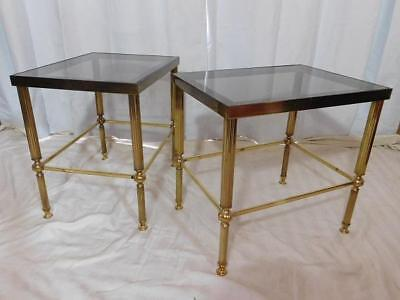A GOOD PAIR OF 20th CENTURY ANTIQUE VINTAGE BRASS SIDE TABLES