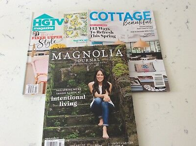 Magnolia Journal (Fixer Upper) + HGTV and Cottage Home USA Magazines.