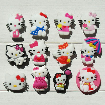 12 cute Hello Kitty jibbitz crocs wrist hair loom band shoe charms cake toppers