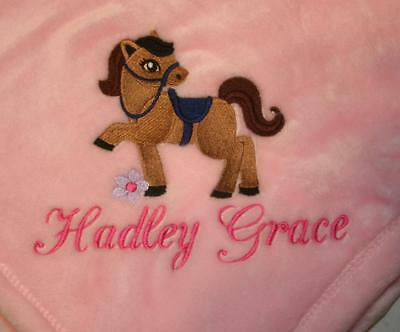 Embroidered Personalized Monogrammed Baby Blanket Stroller Car, Gift 4 colors