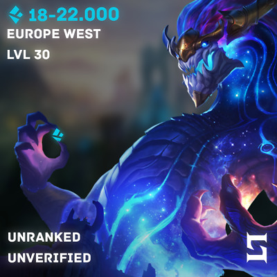 League of Legends LoL Account EUW Unranked LVL Level 30 22k BE Instant Delivery