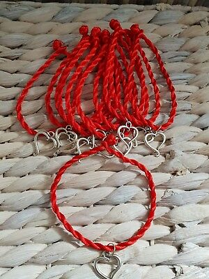 Job lot 12 red heart charm cord Bracelets Party Bags resale Girls clearance fab