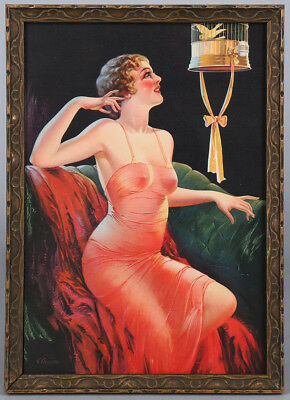 Vintage 1930s Charles Champe Framed Art Deco Pin-Up Print Risqué Flapper Beauty