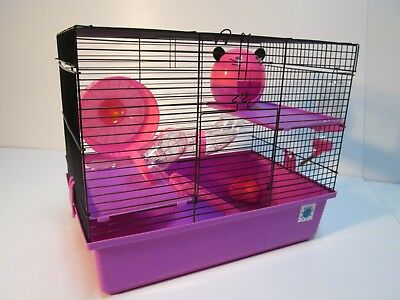 Dexter Large Dwarf Hamster Small Pet Cage 2 Tier - Blue & Lime, Pink & Purple