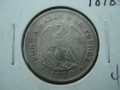 1878 S Chile 20 Centavos Silver Coin **NO RESERVE**