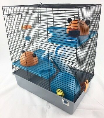 Calypso Large Dwarf Hamster Small Pet Cage 3 Tier With Tubes, Bottle, Ladder