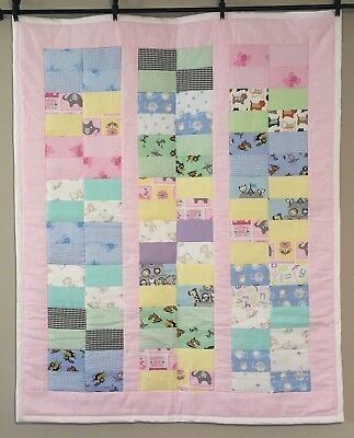 I Spy Peekaboo Baby Girl Quilt Lap Throw Flannel Pastel Colors Handmade Quilt