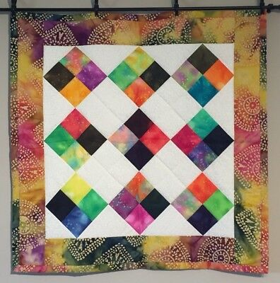Baby Quilt Boy Girl Handmade Lap Throw Quilt Artsy Batiks Fabric Abstract NEW!!!