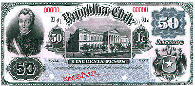 CHILE Facsimile Banknote 50 Pesos Third Fiscal Issue c 1898