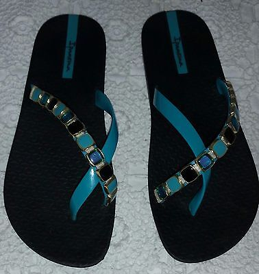 e389b5a6584154 Ipanema Sandals Flip Flops Women s Size 5 Jeweled Blues Turquoise Made in  Brazil