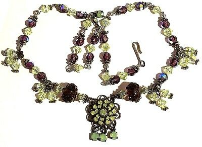 Vintage Stunning Silver Tone Amethyst And Green Crystal Necklace