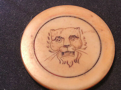 Antique Collectible Scrimshaw Bone Old West Tiger Jaguar Animal Poker Chip