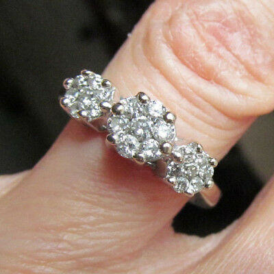 VINTAGE ART DECO 14K WHITE GOLD 3 FLOWER REPOUSSE CLUSTER RING SIZE 5 5g