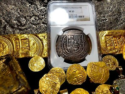 "Mexico 8 Reales Dated 1609 Ngc 25 ""Royal Like"" Pirate Treasure Silver Cob Coin"