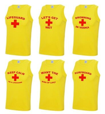 Mens Yellow Lifeguard Vests S-2XL Stag Do Party Fancy Dress Costume Funny Outfit