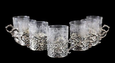 7 German 800 SIlver & Etched Glass Liquor Cups