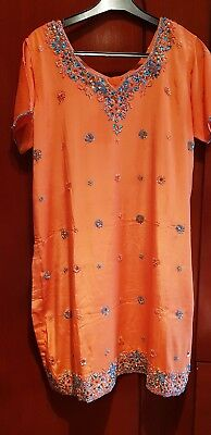 Beautiful orange embroidery salwar suit with duppata
