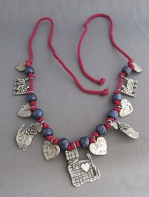 Vintage Heavy Pewter 3D Love Heart Kitty Cat Rope Charm Choker Necklace