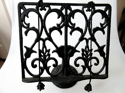 Vintage Wrought Iron Document Book Stand Holder Display Easel w/ Page Weights