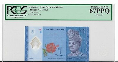 Pcgs Sample Note - Superb Gem New 67 Ppq Malaysia 1 Ringgit - U.s. Ship Only