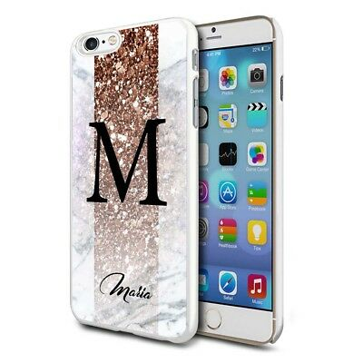 Personalised Marble Phone Case Cover for Apple Samsung Initial Text Name - E01