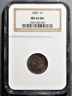 1883 INDIAN HEAD CENT 1C  Brown PENNY  NGC MS64 BN GB102