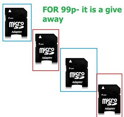 4 x Memory Card Adaptor Micro SD Adapter for 2, 4, 8, 16, 32, 64gb 128gb cards