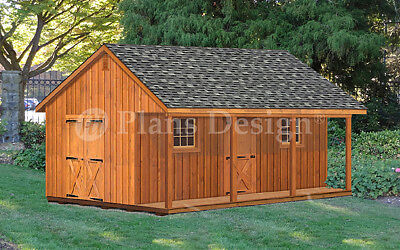 20' X 24' Shed with Covered Porch, 480 Sq. Ft. Cabin Building Plans # P52024
