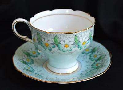 Delightful Blue Daisies Paragon Fine Bone China Teacup & Saucer Signed Margot