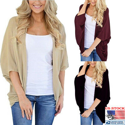 US Womens Short Sleeves Kimono Beach Holiday Cardigan Cover Up Loose Casual Tops