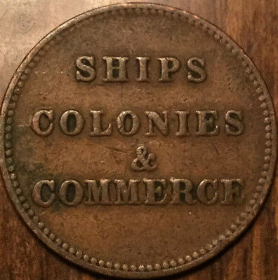 PEI SHIPS COLONIES AND COMMERCE HALFPENNY TOKEN - Medal die axis
