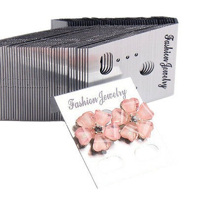 100XSilver Professional Type Plastic Earring Ear Studs Holder Display  Cards R<Z