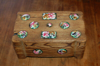 Box antique wooden with ENAMEL inlaid -good condition B4