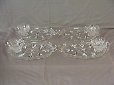 4 Vintage Anchor Hocking Clear Glass Snack Plates AND 4 Cups With Grape Pattern