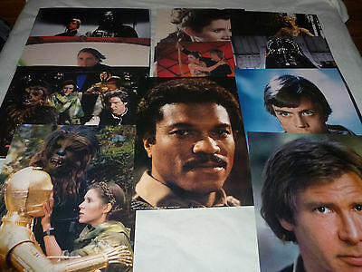 Vintage Star Wars Lobby Card Lot Luke Skywalker Leia Vader Chewbacca C3P0 R2D2 >