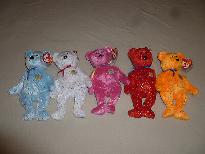 New Ty Beanie Babies Baby Bear Lot 10 Year Decade Anniversary Pink Blue White >