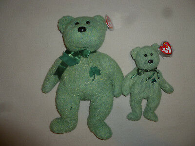 New W Tag Ty Beanie Babies Baby Bear Shamrock Set Lot Club Irish St Patties Day