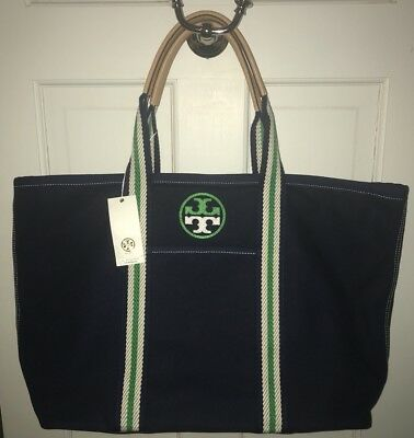 76e714e00494 TORY BURCH Large Embroidered T Tote ROYAL NAVY Beach Bag Travel Purse ( 298) NWT