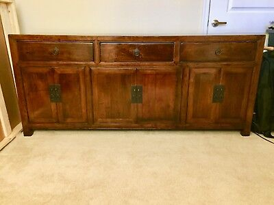 "Antique Chinese Sideboard Buffet Cabinet 75"" Long, High Gloss Lacquer"