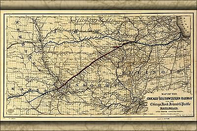 Poster, Many Sizes; Map Of The Chicago And Southwestern Railroad 1869