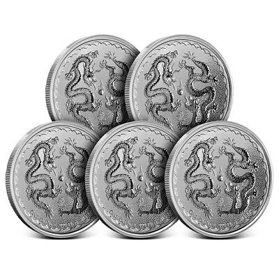 Lot of 5 - 2018 Niue 1 Oz .999 Fine Silver Double Dragon $2 Coin - Gem BU!