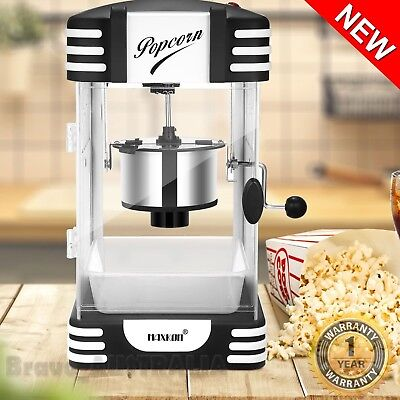 Electric Popcorn Machine 300W Classic Popper Maker Black w/ Measuring Spoon