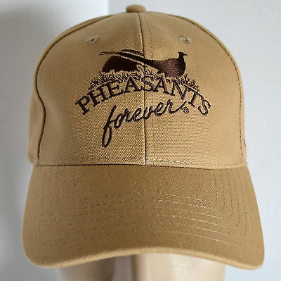 new concept 1bf29 3d8a9 New Pheasants Forever Hat Mens Brown Baseball Ball Cap Lid Game Bird Hunting