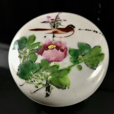 Antique Chinese Exquisite Porcelain Painted Flower Bird Ink Case / Box, Signed