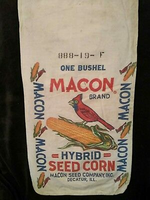 MACON HYBRID SEED CORN CLOTH SACK.  DECATUR, ILL. Seed Corn Bag. Excellent.