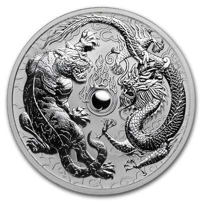 2018 1 oz Australian Dragon and Tiger Silver 1 oz .9999 Silver Capsuled