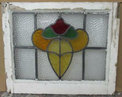 "OLD ENGLISH LEADED STAINED GLASS WINDOW Thick Floral Abstract 21.75"" x 18"""